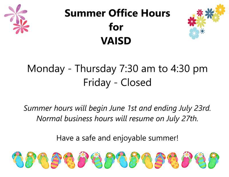 VAISD Summer Hours Thumbnail Image