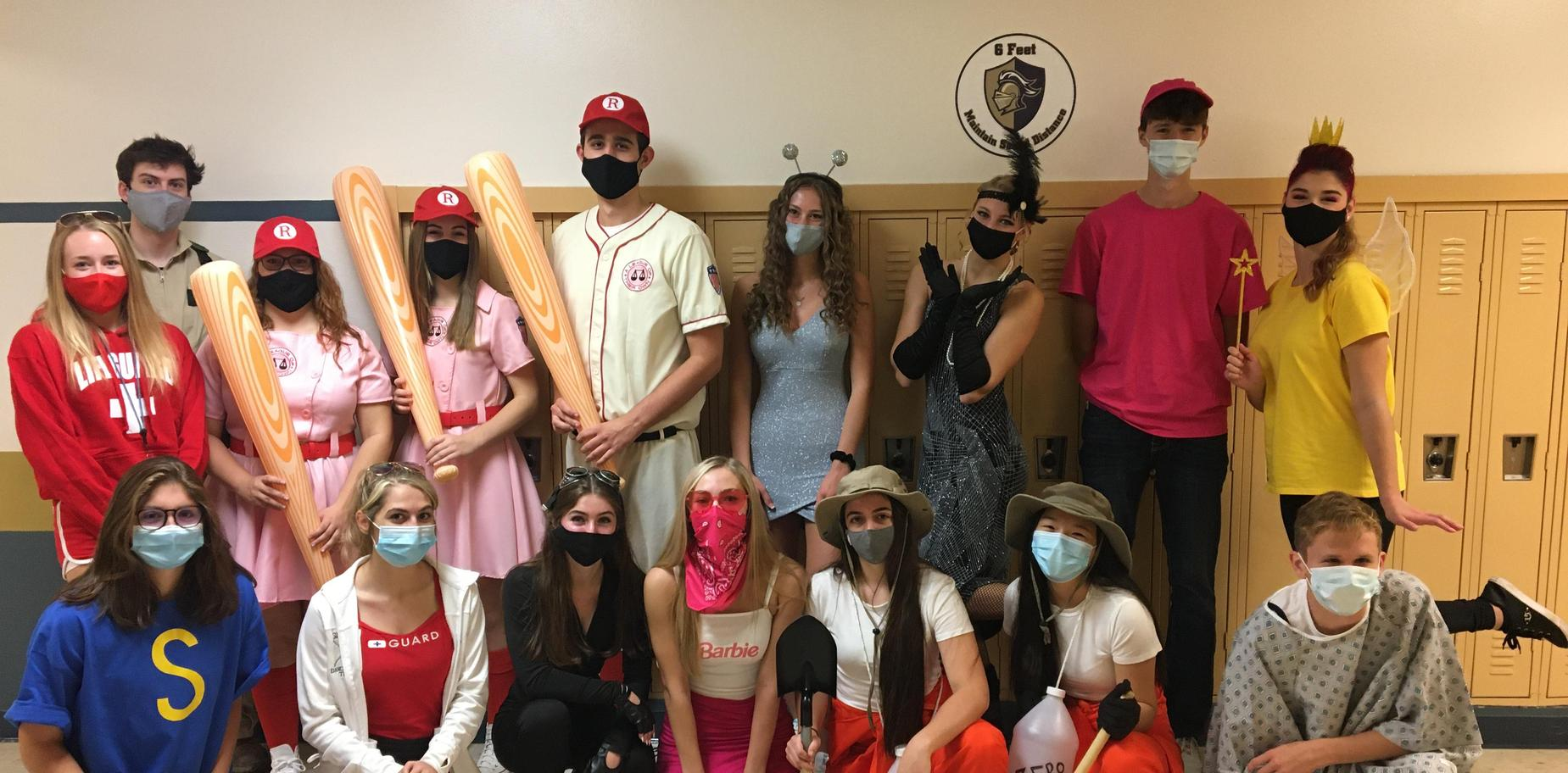 group of students in costume