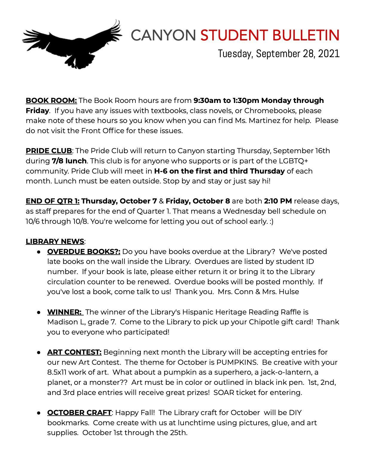 student bulletin page 1