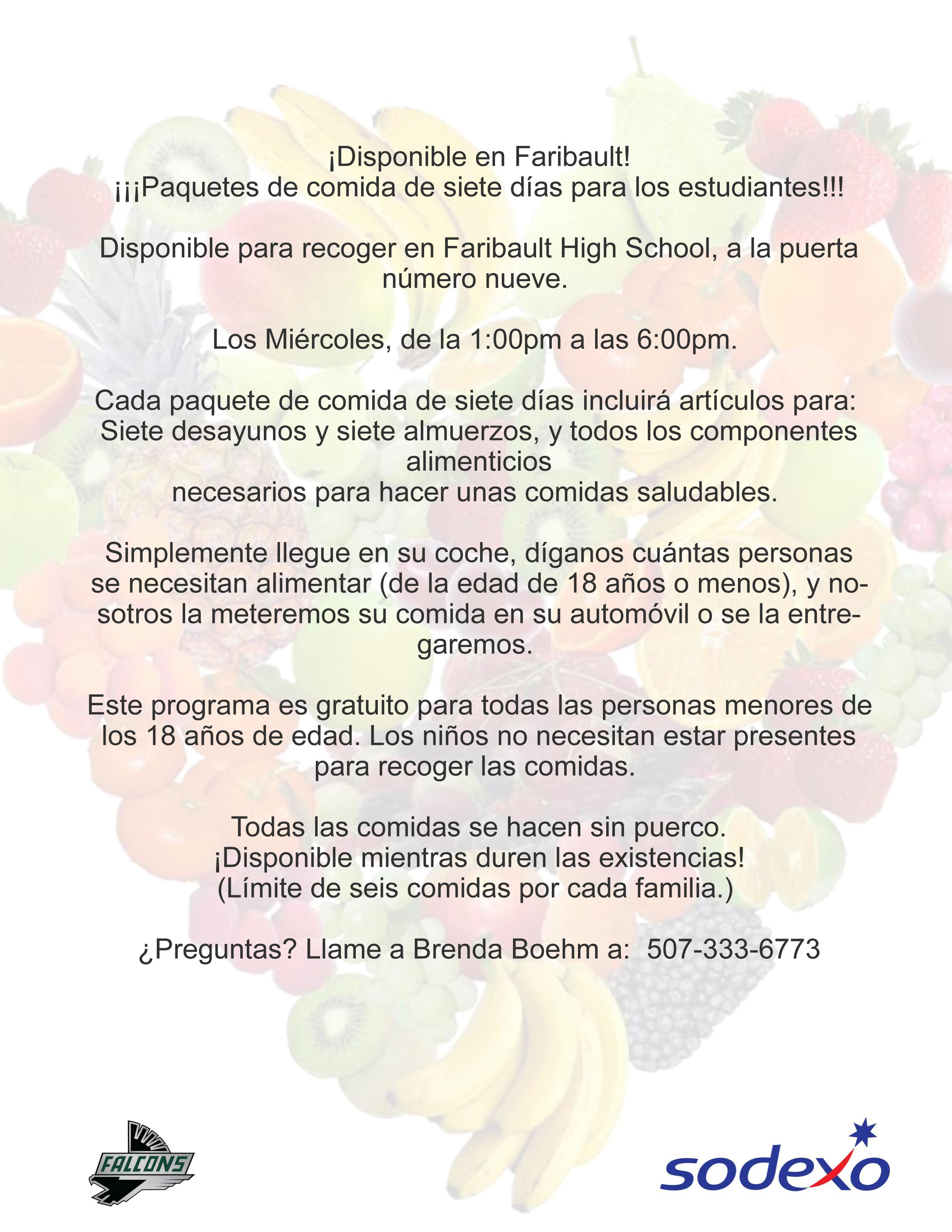 7 Day Meal Pack Info - Spanish