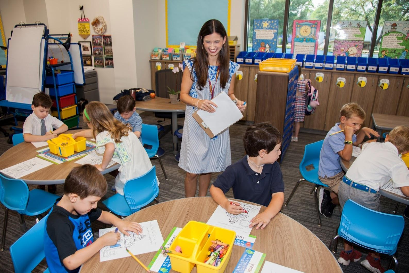 A teacher with her students in the classroom at University Park Elementary