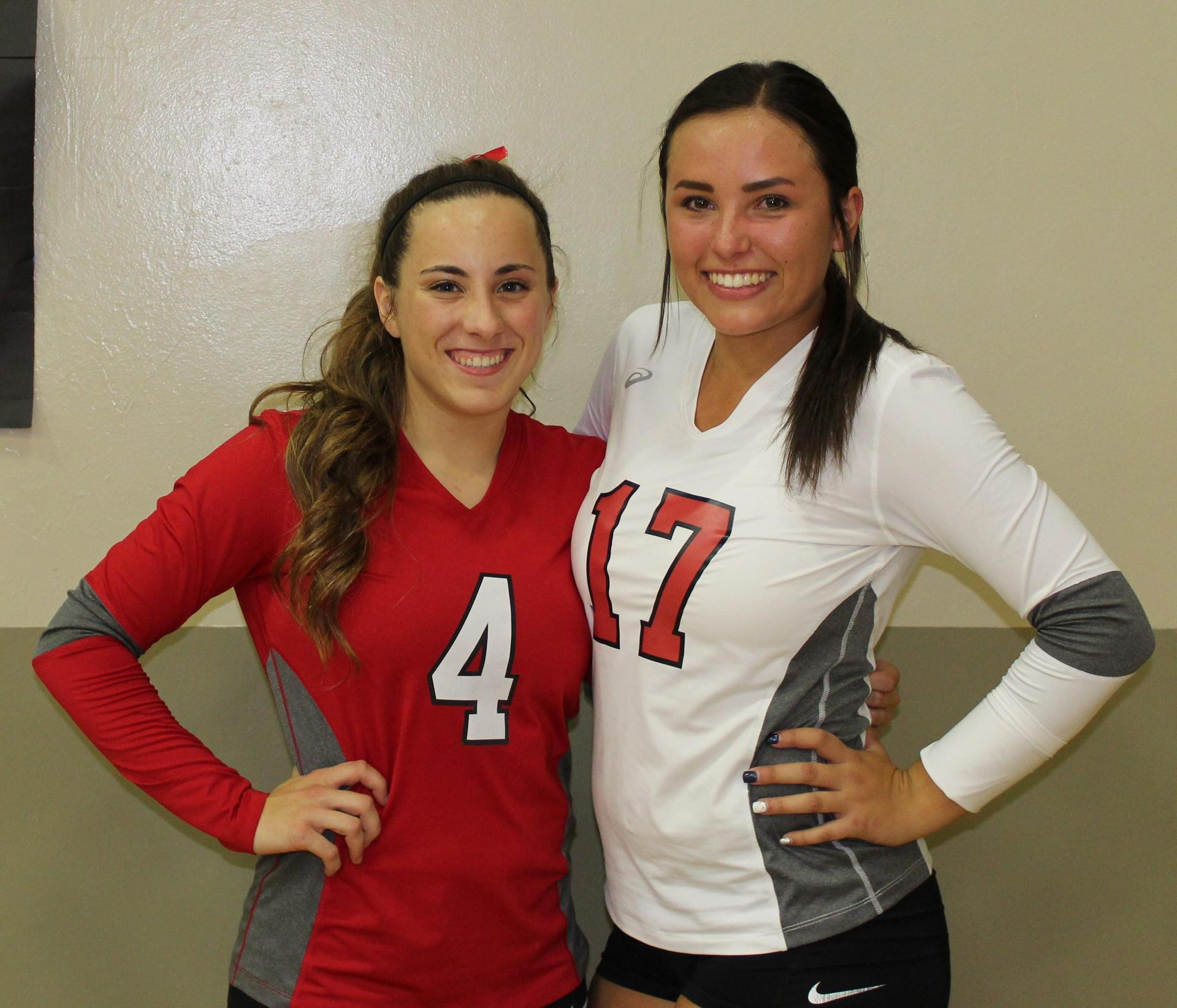 Hannah Mancebo and Sydney Alexander pose on Volleyball Senior Night.