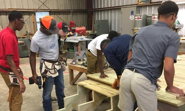 Carpentry I students in shop.