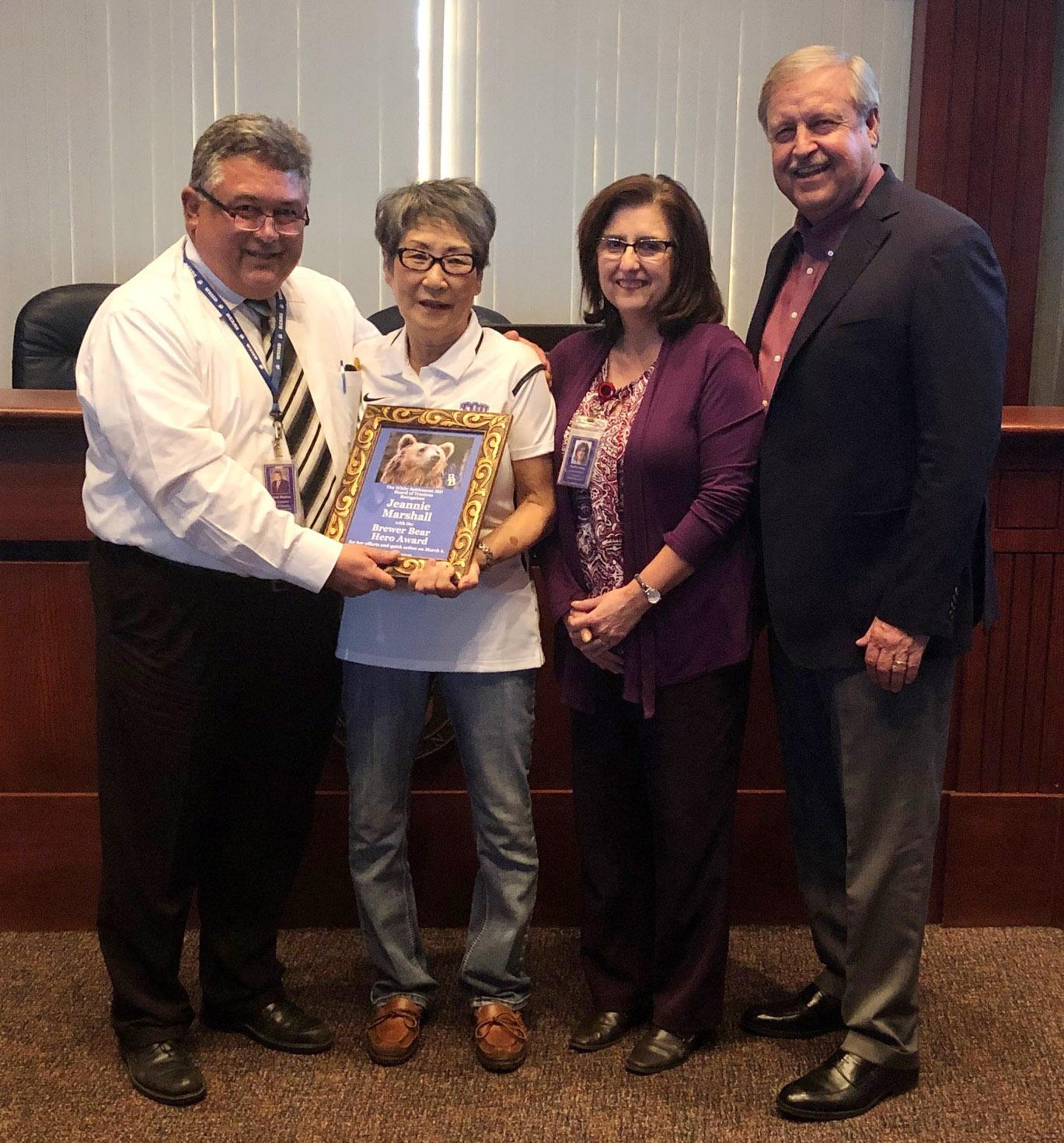 The WSISD Board of Trustees and Administration recognized Brewer Middle School child nutrition employee Jeannie Marshall with the Brewer Bear Hero Award during its March 25 meeting.