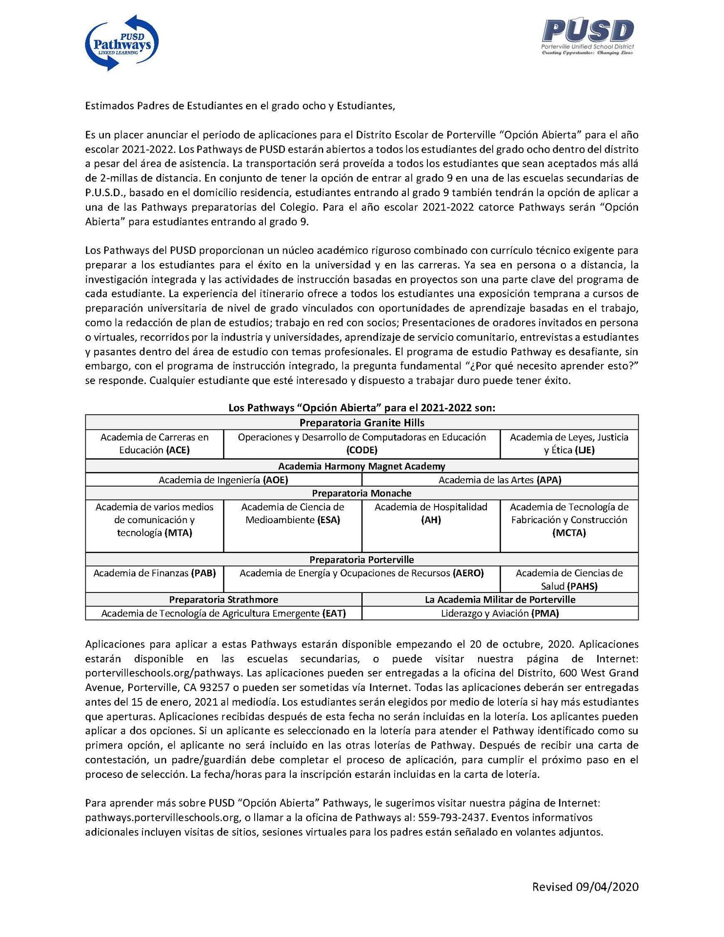 Parent Letter- Spanish