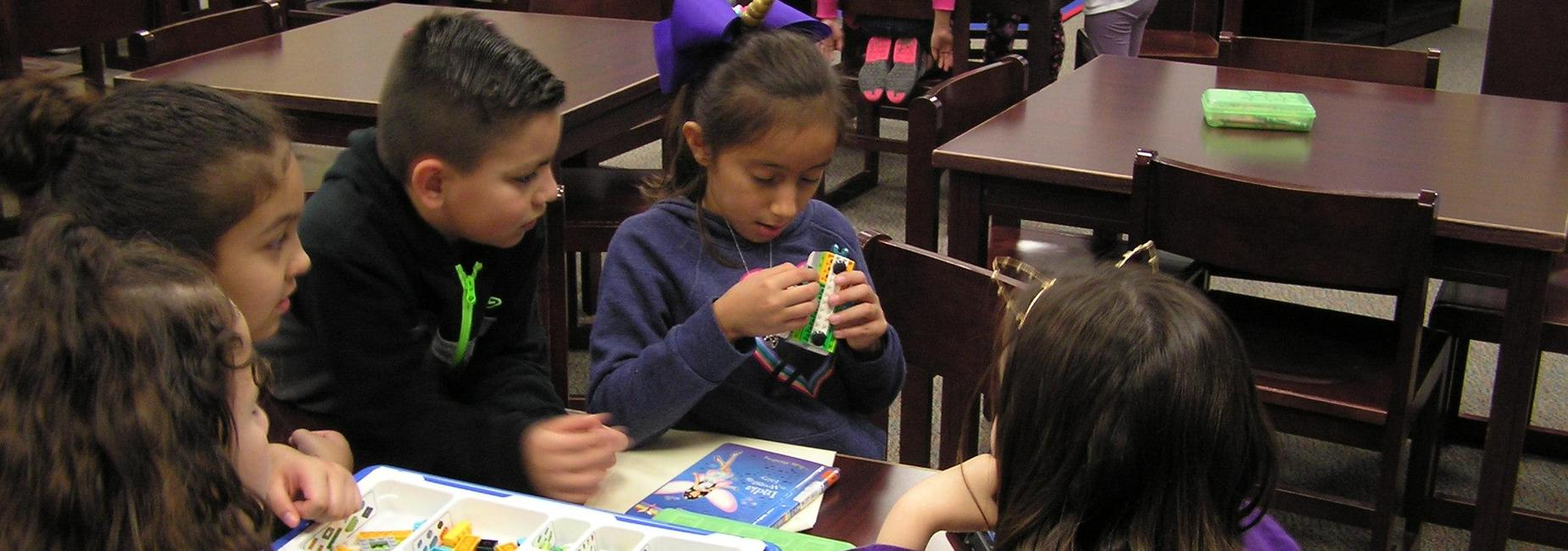 Students use Lego WeDo kits.