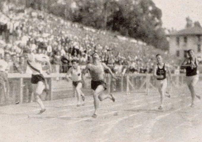 Finish line at Occidental, 1930