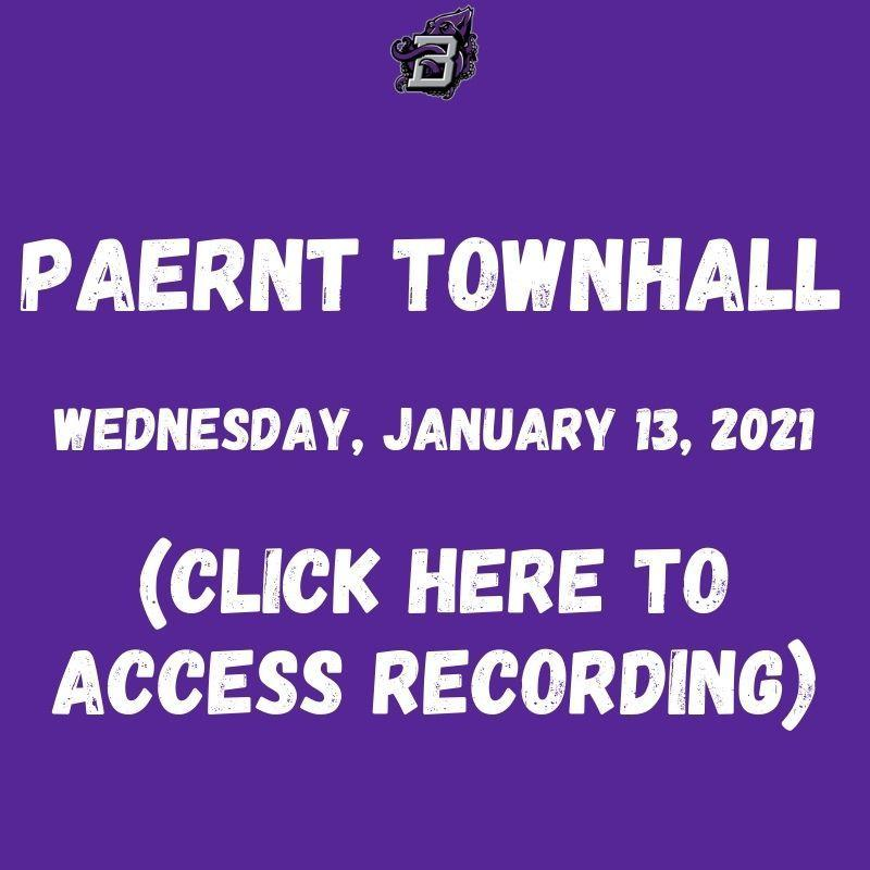 Parent Townhall Meeting 01/13/2021 (Click here to access recording) Thumbnail Image