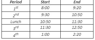 schedule with times