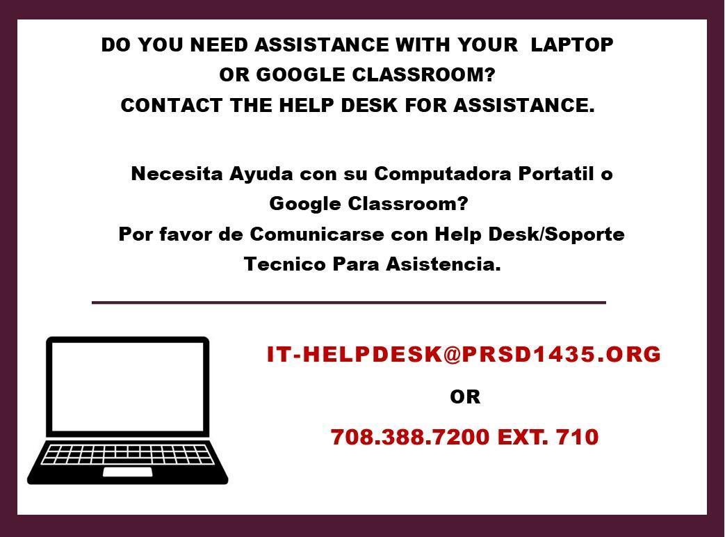 Help Desk info.