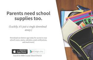 Search Bibb County Schools in Google Play or Apple App store - Flyer