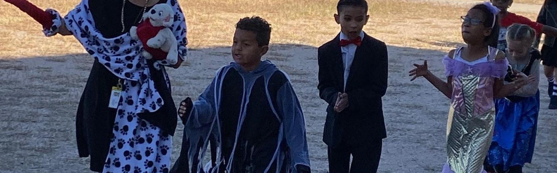 children dressed for Halloween
