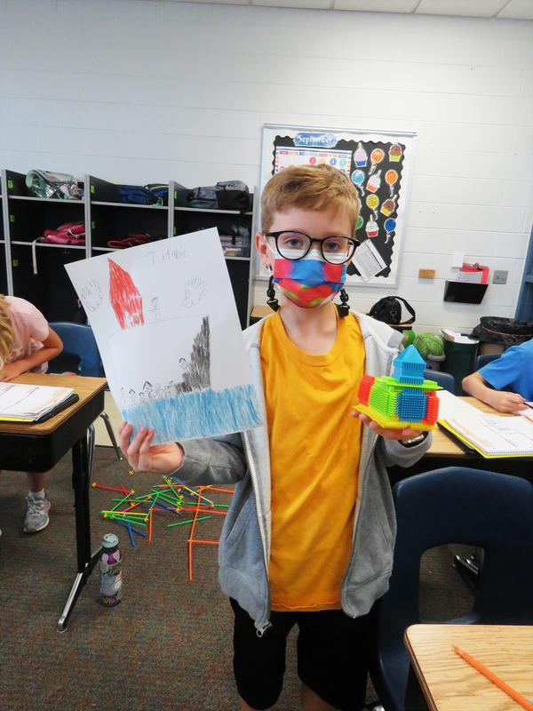 A student builds a replica of the Titanic in Mrs. Kammeraad's 4th-grade class.