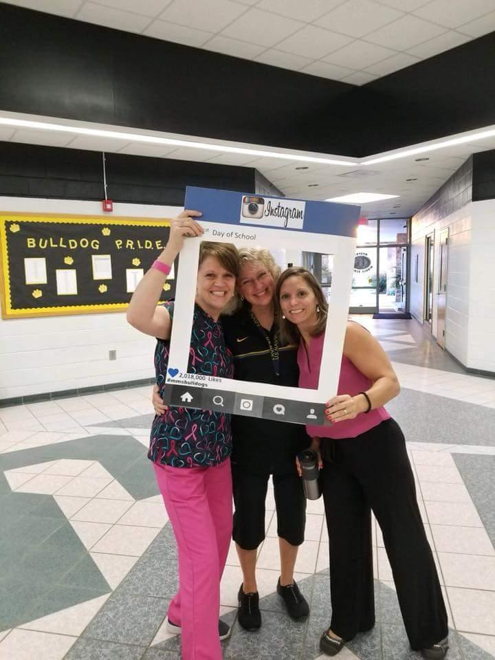 Teachers smile on the first day!
