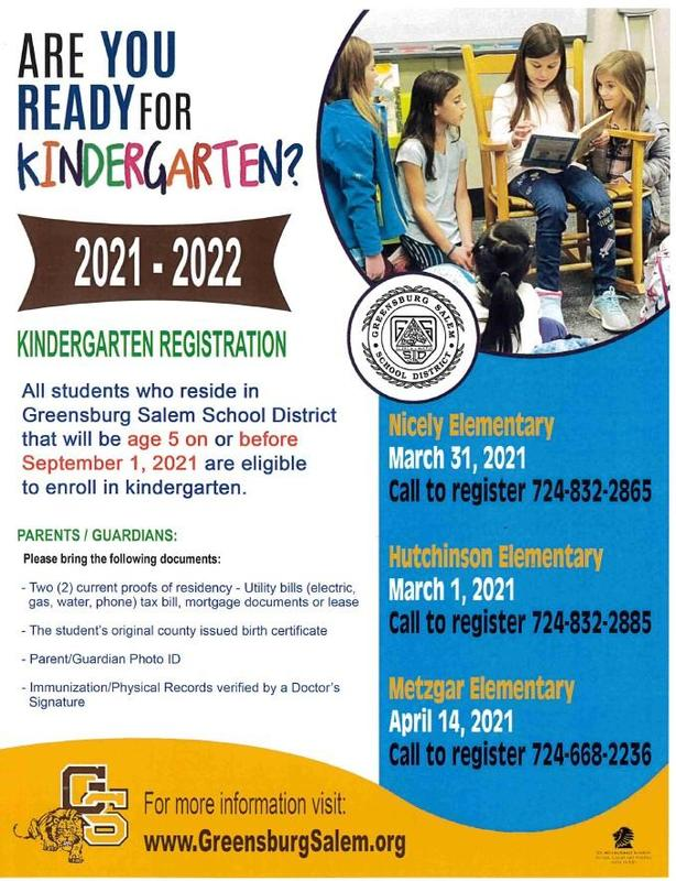Kindergarten Registration at Nicely is March 31, 2021