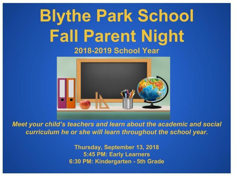 Blythe Park School's Fall Parent Night! Featured Photo