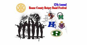 clip art image of band members with school logos for RCHS, HHS, MHS, OSHS, and RHS