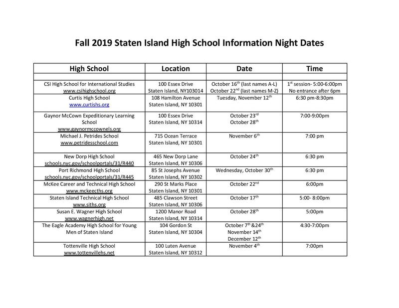 high school info night