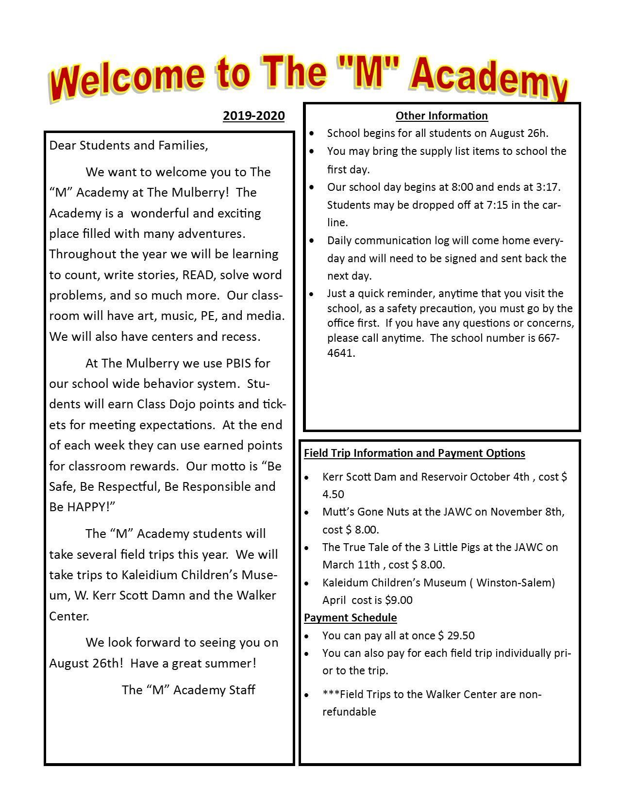 Welcome Letter and Supply List – The M Academy – Mulberry Elementary