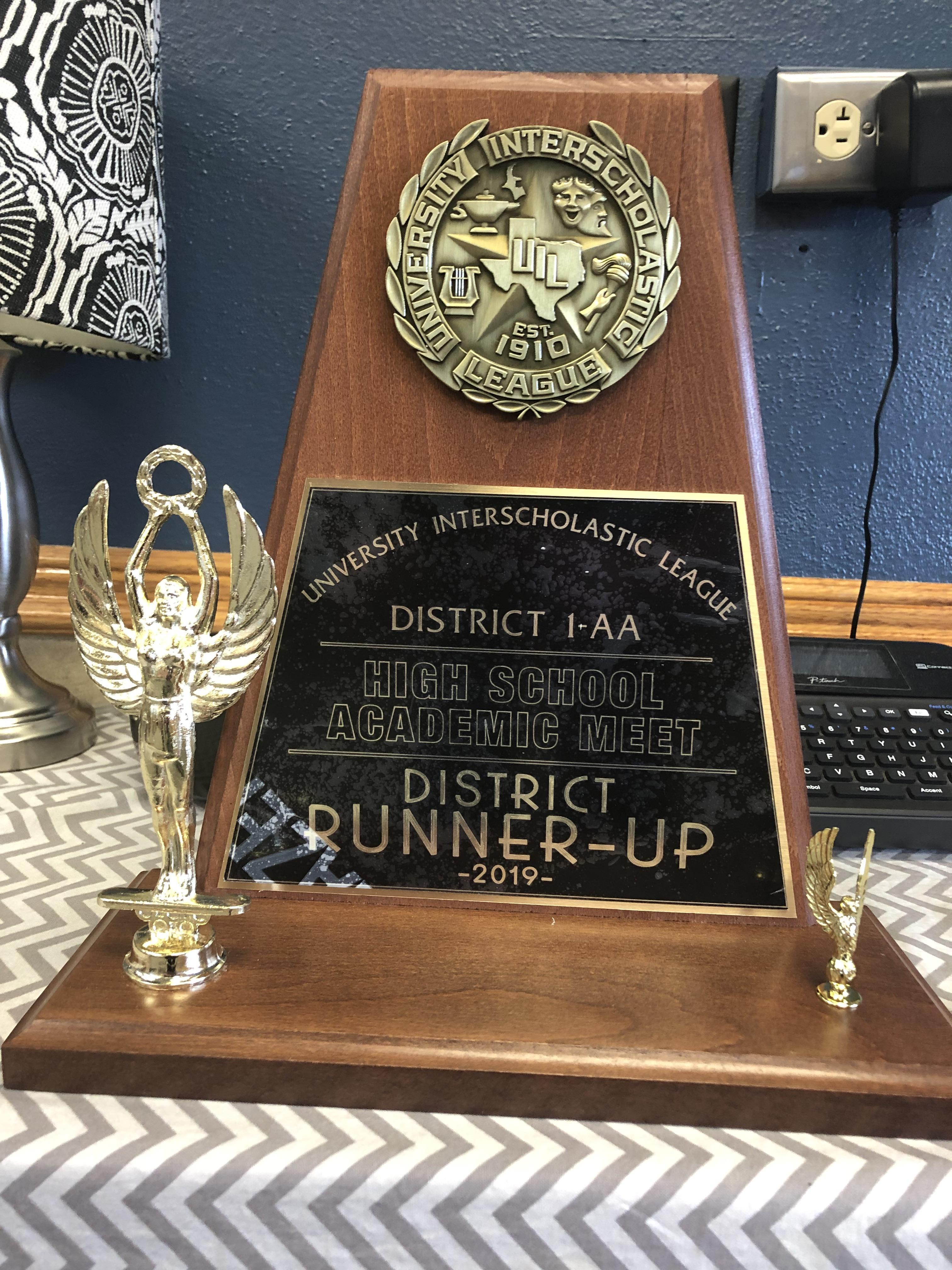 District Runner-up in UIL Academics