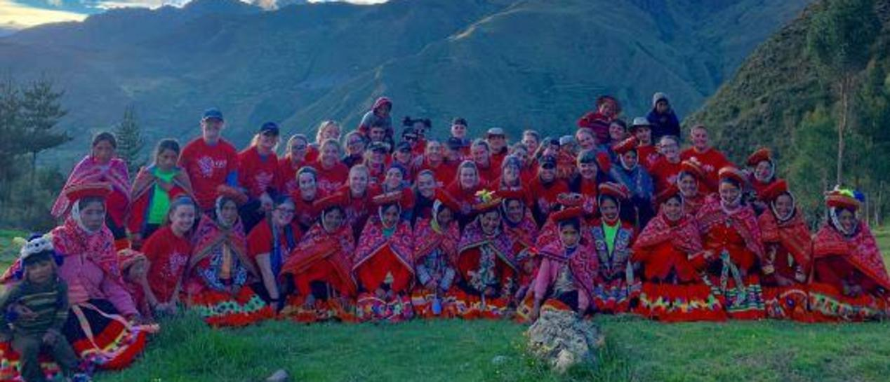 Bloomfield high school students on their service project in Peru