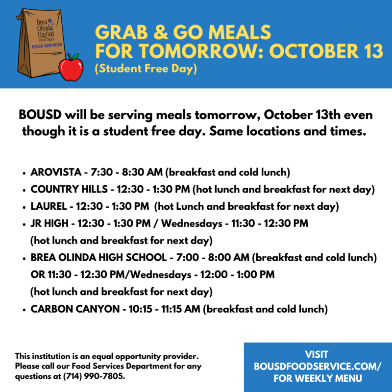 Grab & Go Meals on Student Free Day