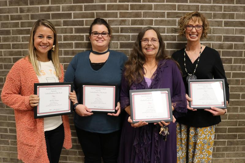 September 2019 Employees of the Month: McKinzie Hackney from MMS; Clarissa Pease from MHS; Lisa Taylor from MES; and Brenda Steele from MES.