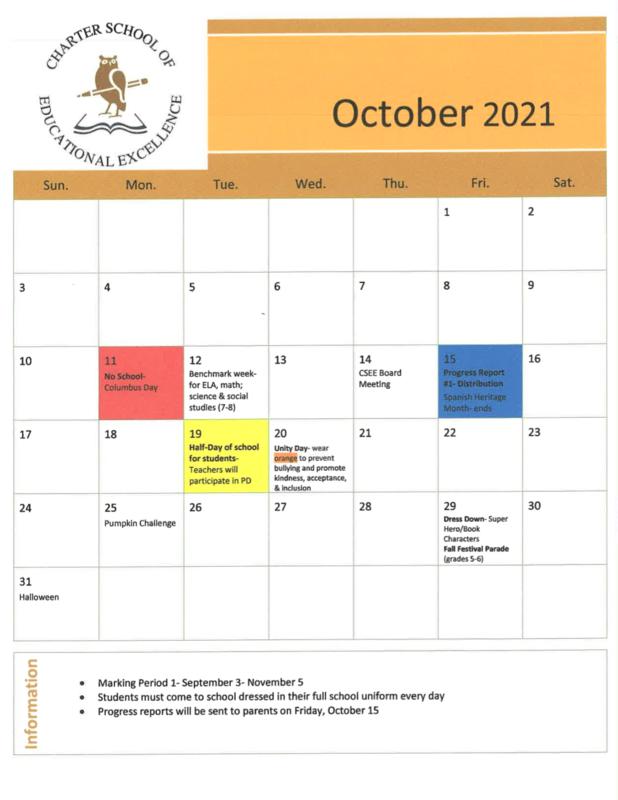 2021 October Calendar Featured Photo