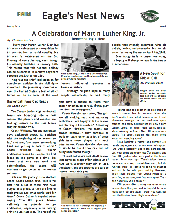 JANUARY EDITION OF THE EAGLE NEST Featured Photo