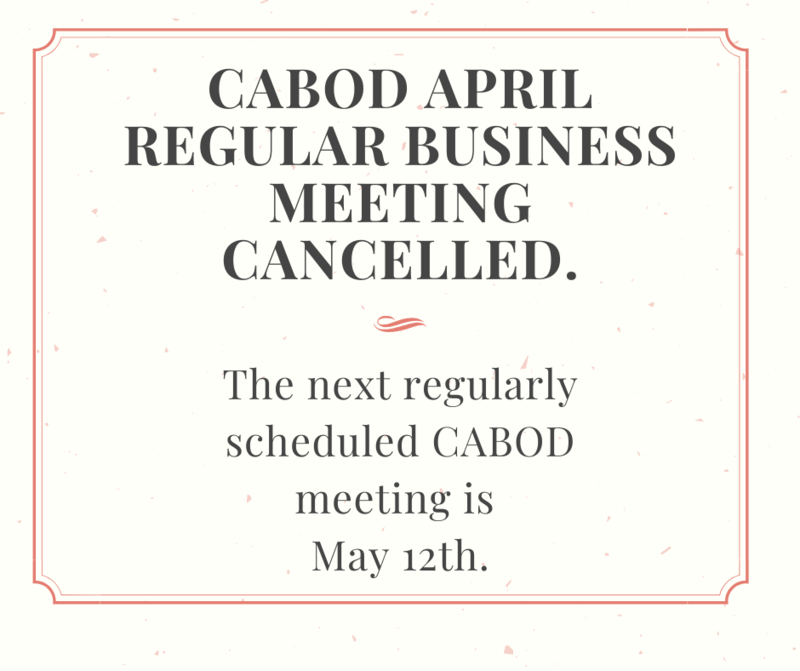 CABOD meeting cancelled for April