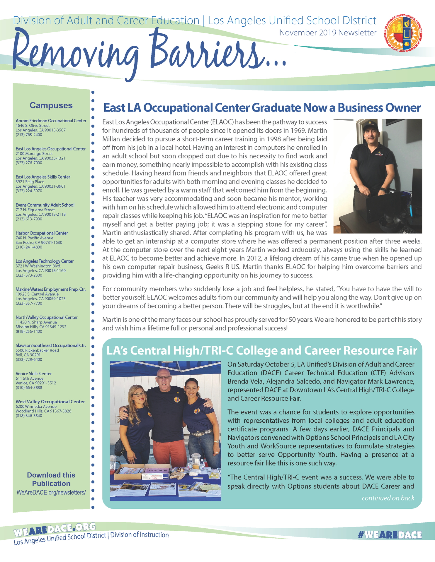 DACE Removing Barriers Newsletter - December 2019