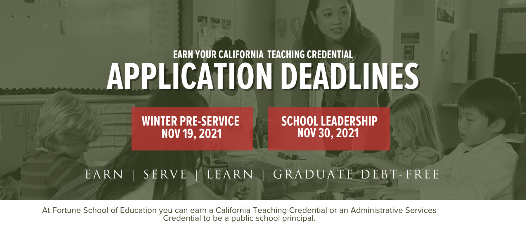 Application Deadlines: Winter Pre-Service 11/19/21 and School Leadership 11/30/21