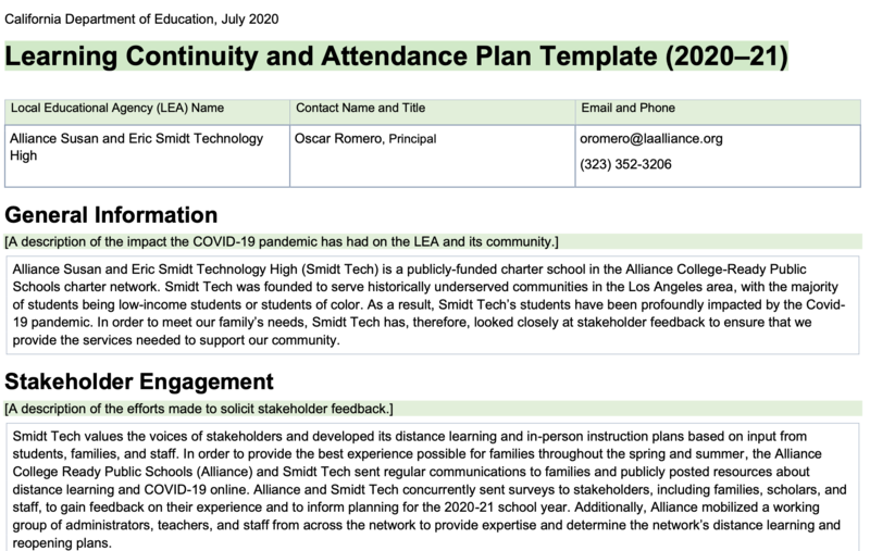 Learning Continuity and Attendance Plan Template (2020–21) Thumbnail Image
