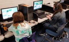 Coach Haynes' Geography class taking part in the Hour of Code.