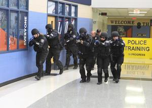Members of the Edinburg CISD SWAT team participated in an active shooter response training exercise at Harwell Middle School in Edinburg.