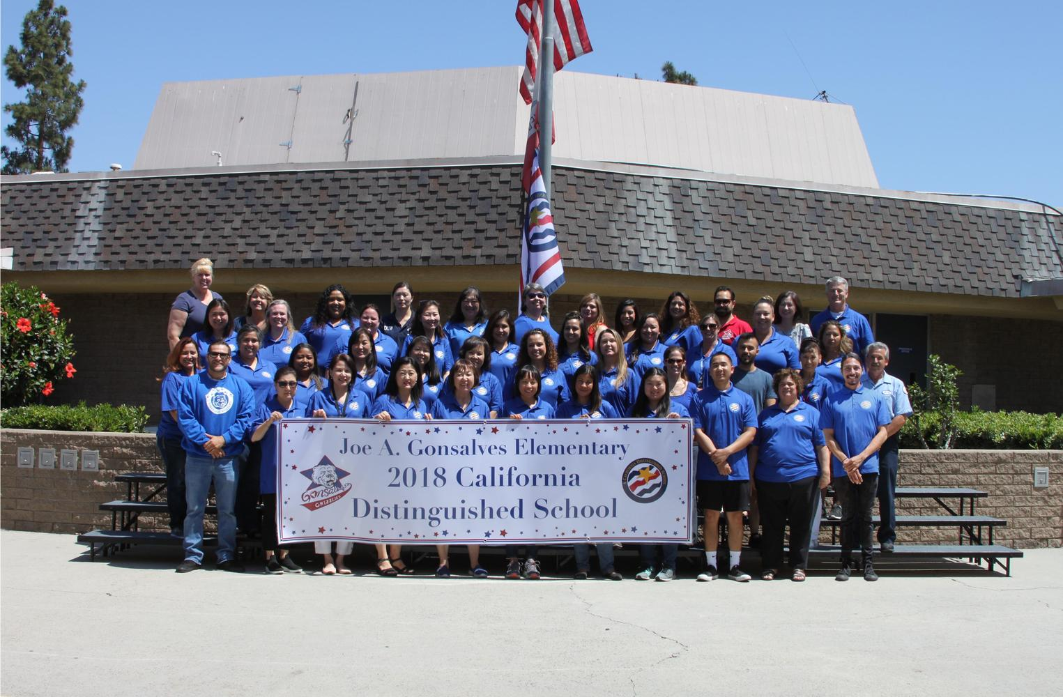 Staff with 2018 CA Distinguished School