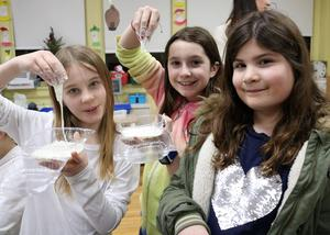 Sinking into science as 4th graders Katelyn Tomczyk, Kate Riley, and Francesca Castellano create mock quicksand during a session at McKinley's 6th Annual STEAM Night on Jan. 24.