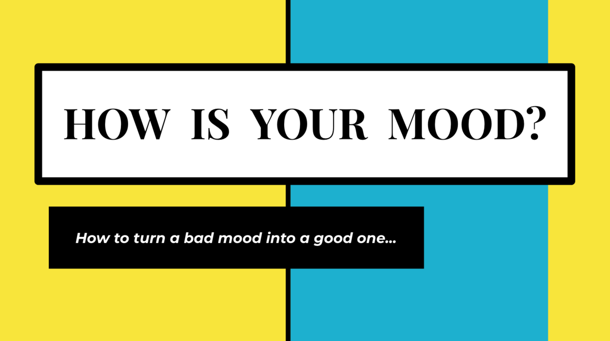Teal and Yellow Slide with text:  How is Your Mood?