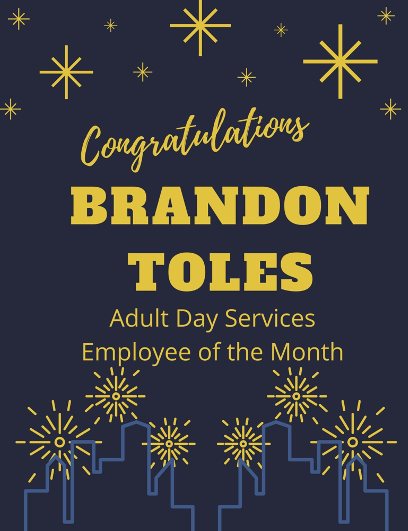 Brandon Toles Employee of the Month sign