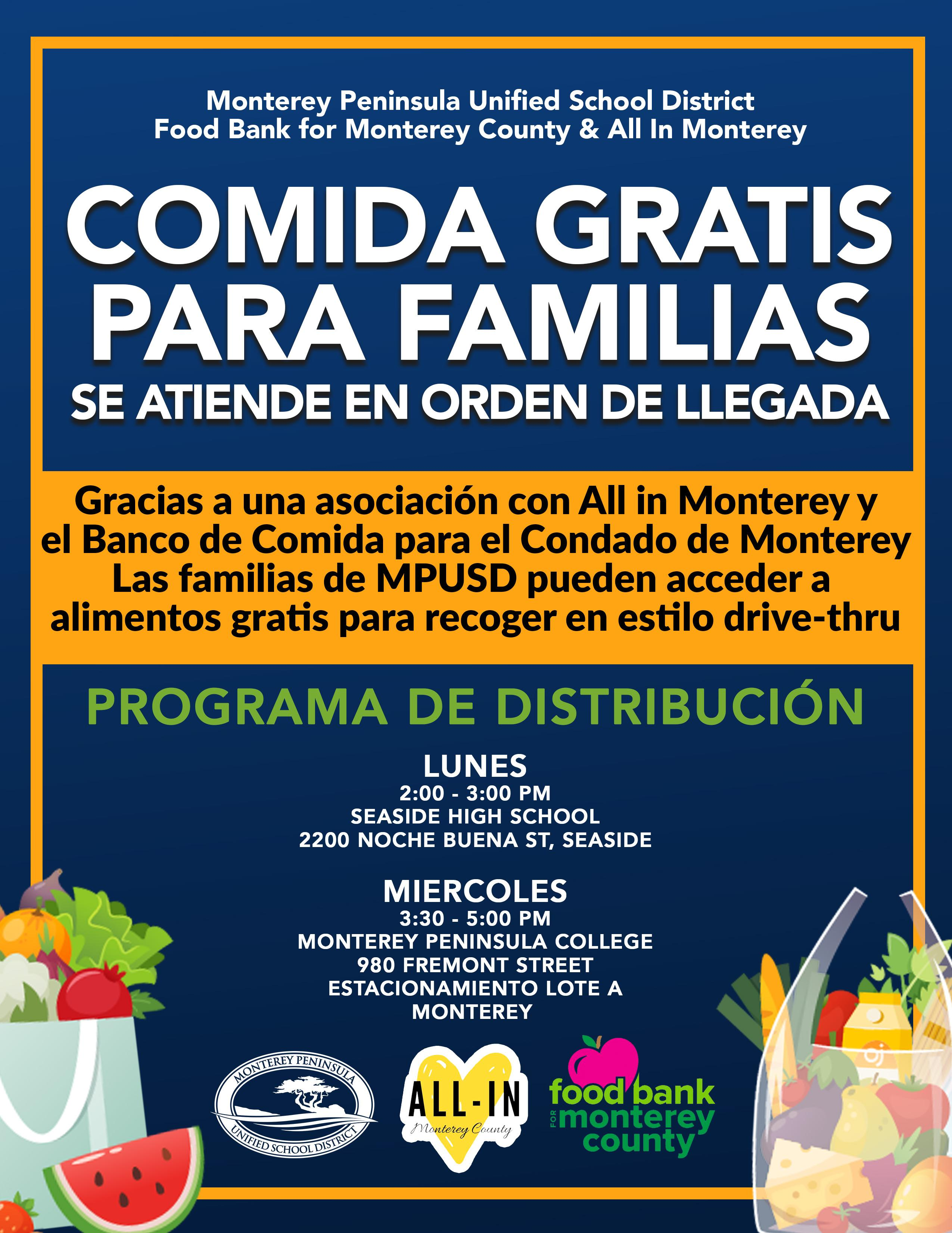 Free Food for Families Spanish