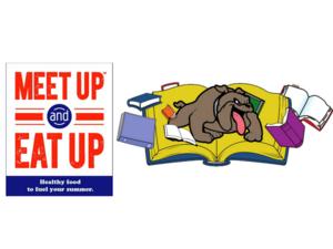 Meet Up and Eat Up and Bookin' bus logos