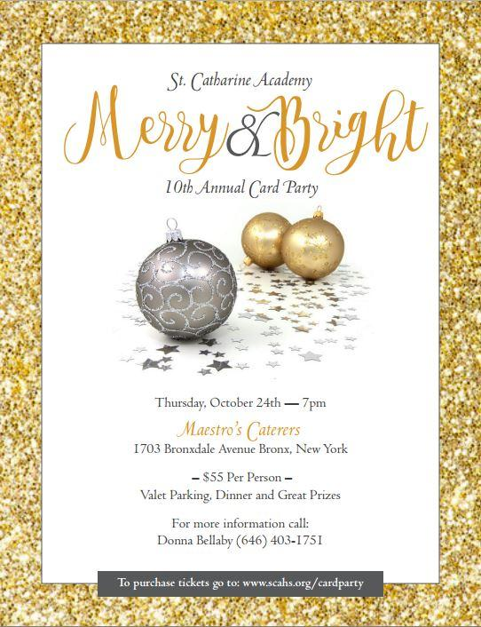 Card Party Flyer Merry and Bright