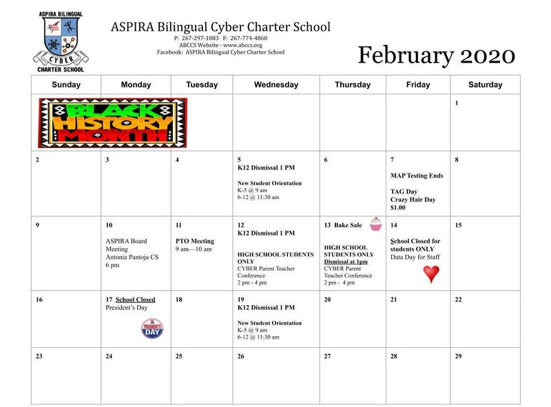 Activities Calendar for the month of February Featured Photo