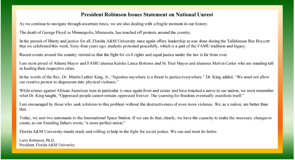 President Robinson Statement