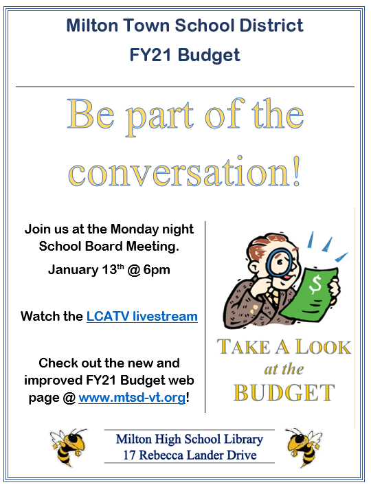 budget conversation Monday January 13th at 6pm. MHS Library