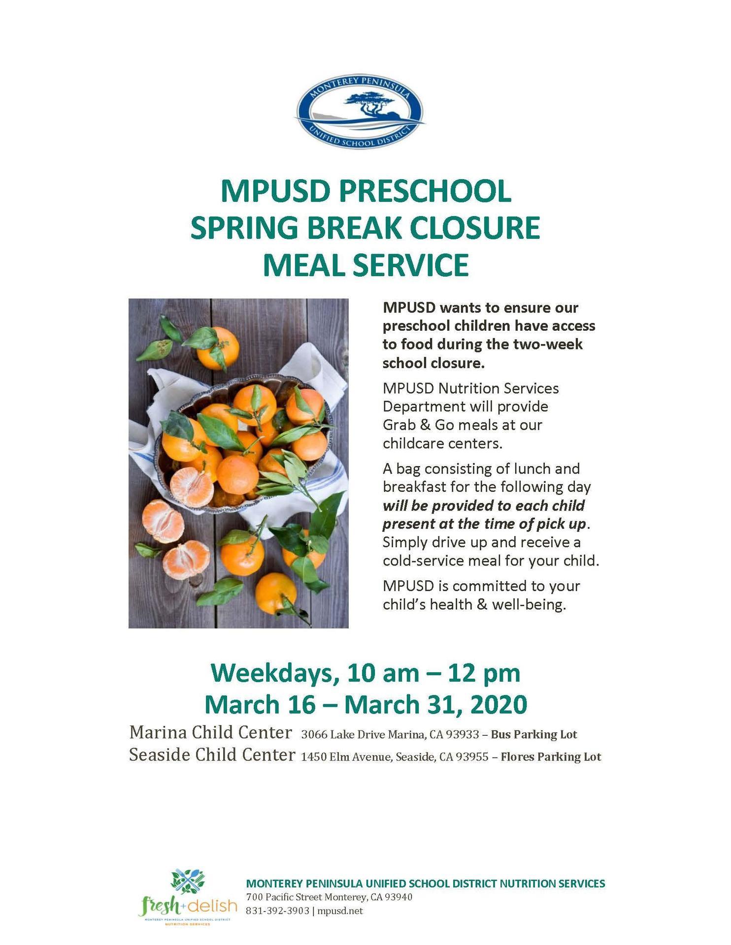 Preschool Food Service Flyer