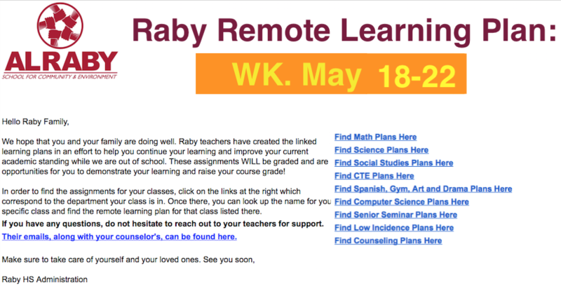 Raby Remote Learning Plan: Wk. MAY 18-22 Featured Photo