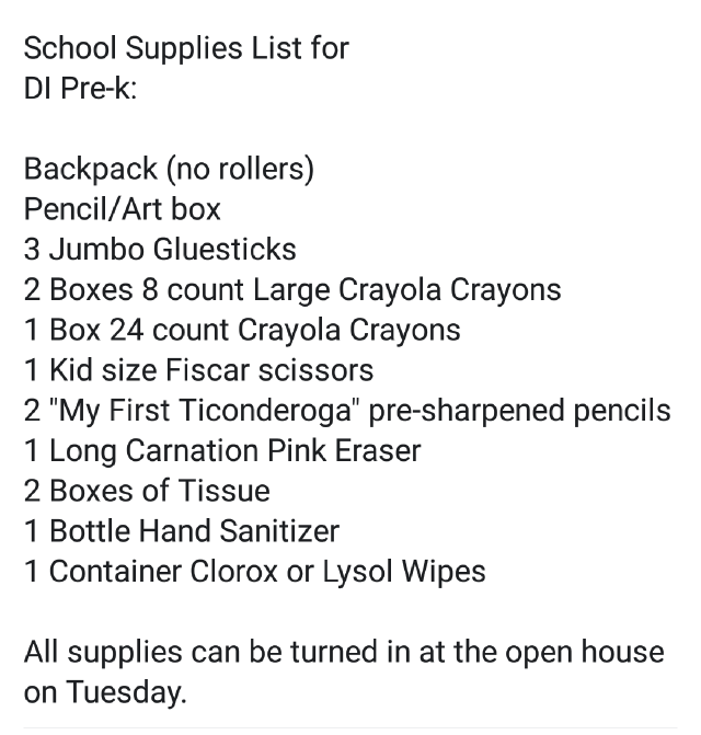 DI Pre-K Supply List
