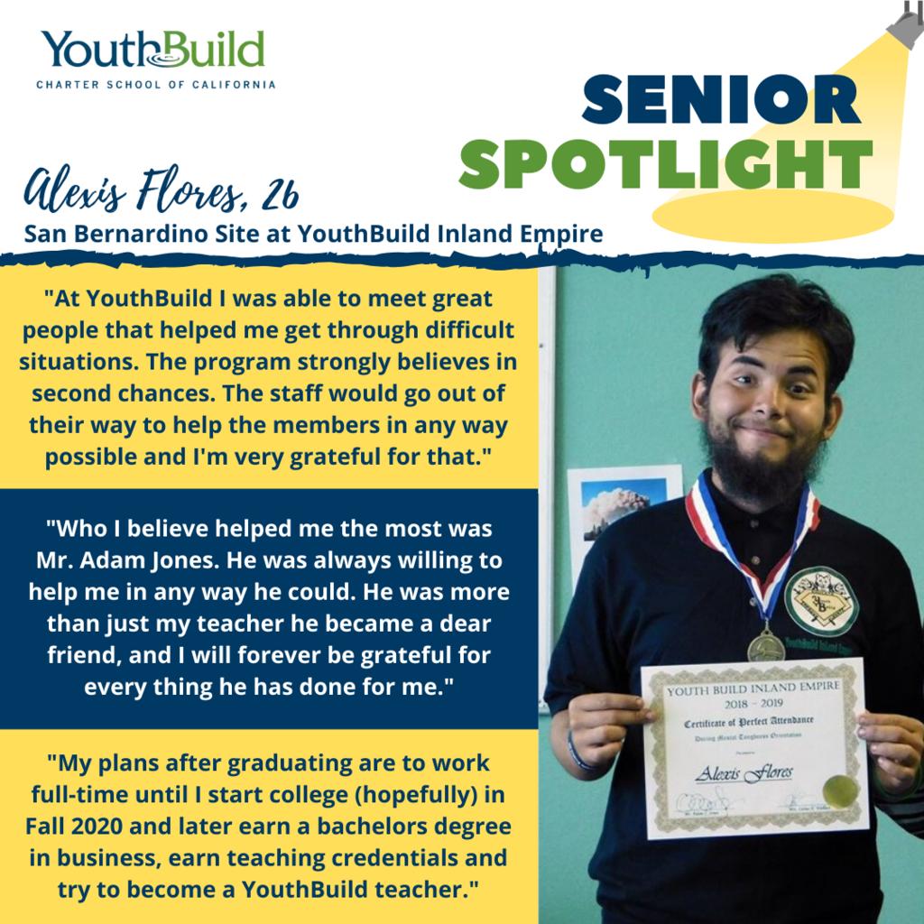 Senior Spotlight for graduate Alexis Flores