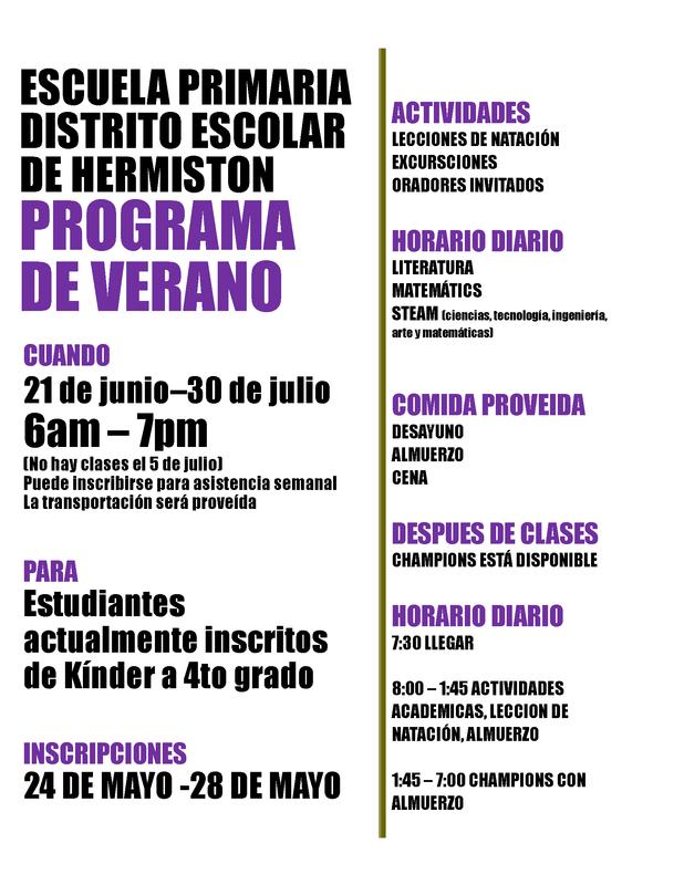 spanish summer program flyer